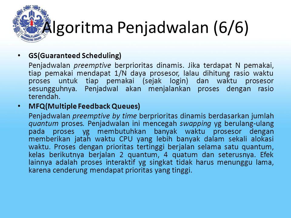 Algoritma Penjadwalan (6/6) GS(Guaranteed Scheduling) Penjadwalan preemptive berprioritas dinamis. Jika terdapat N pemakai, tiap pemakai mendapat 1/N
