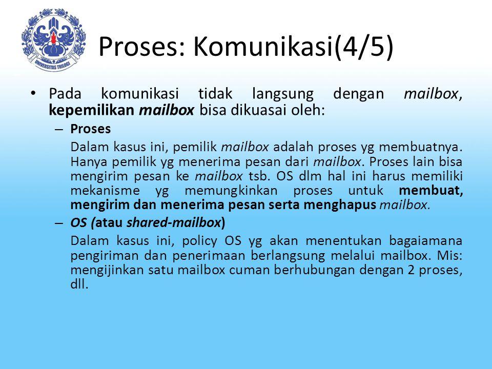 Proses: Komunikasi(4/5) Pada komunikasi tidak langsung dengan mailbox, kepemilikan mailbox bisa dikuasai oleh: – Proses Dalam kasus ini, pemilik mailb