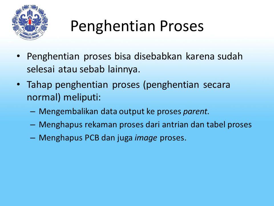 Penghentian Proses Penghentian proses bisa disebabkan karena sudah selesai atau sebab lainnya. Tahap penghentian proses (penghentian secara normal) me
