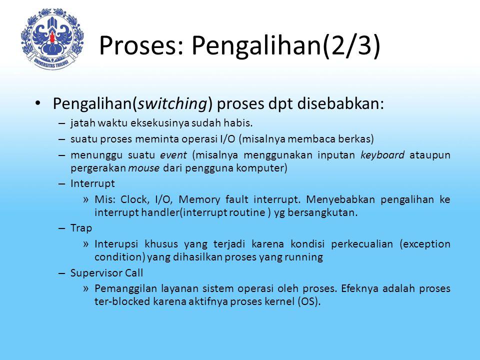 Proses: Pengalihan(2/3) Pengalihan(switching) proses dpt disebabkan: – jatah waktu eksekusinya sudah habis. – suatu proses meminta operasi I/O (misaln