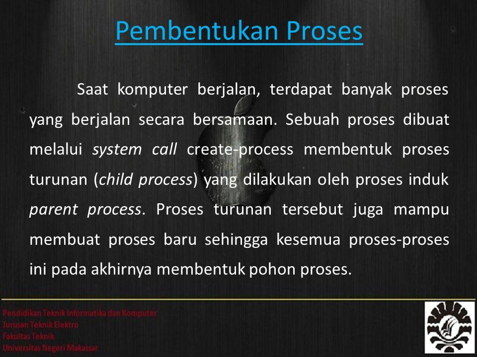 Pembentukan Proses Saat komputer berjalan, terdapat banyak proses yang berjalan secara bersamaan.