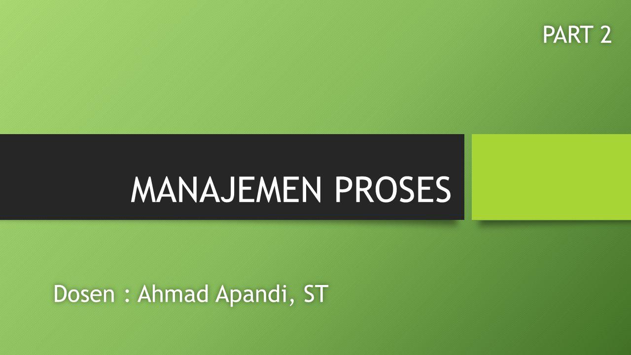 MANAJEMEN PROSES Dosen : Ahmad Apandi, STDosen : Ahmad Apandi, ST PART 2PART 2