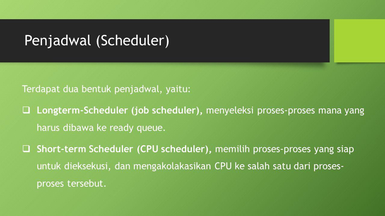 Penjadwal (Scheduler) Terdapat dua bentuk penjadwal, yaitu:  Longterm-Scheduler (job scheduler), menyeleksi proses-proses mana yang harus dibawa ke