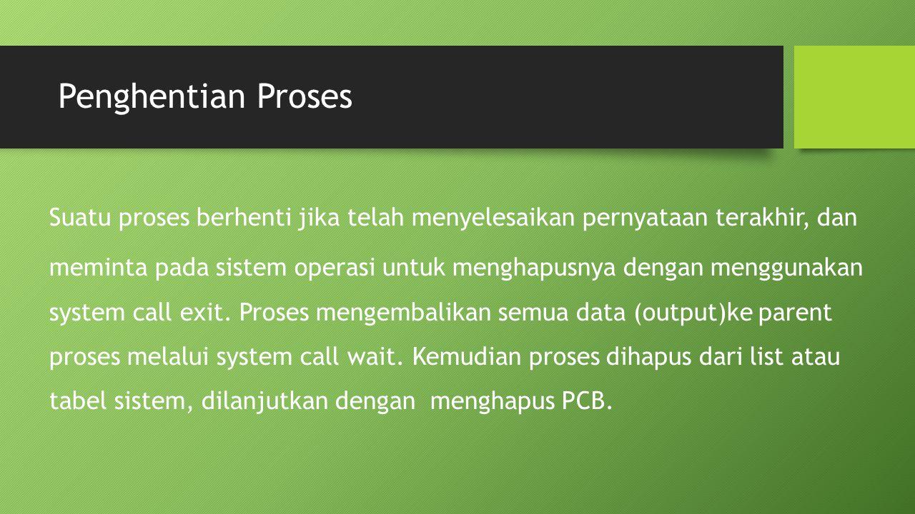 Penghentian Proses Suatu proses berhenti jika telah menyelesaikan pernyataan terakhir, dan meminta pada sistem operasi untuk menghapusnya dengan mengg