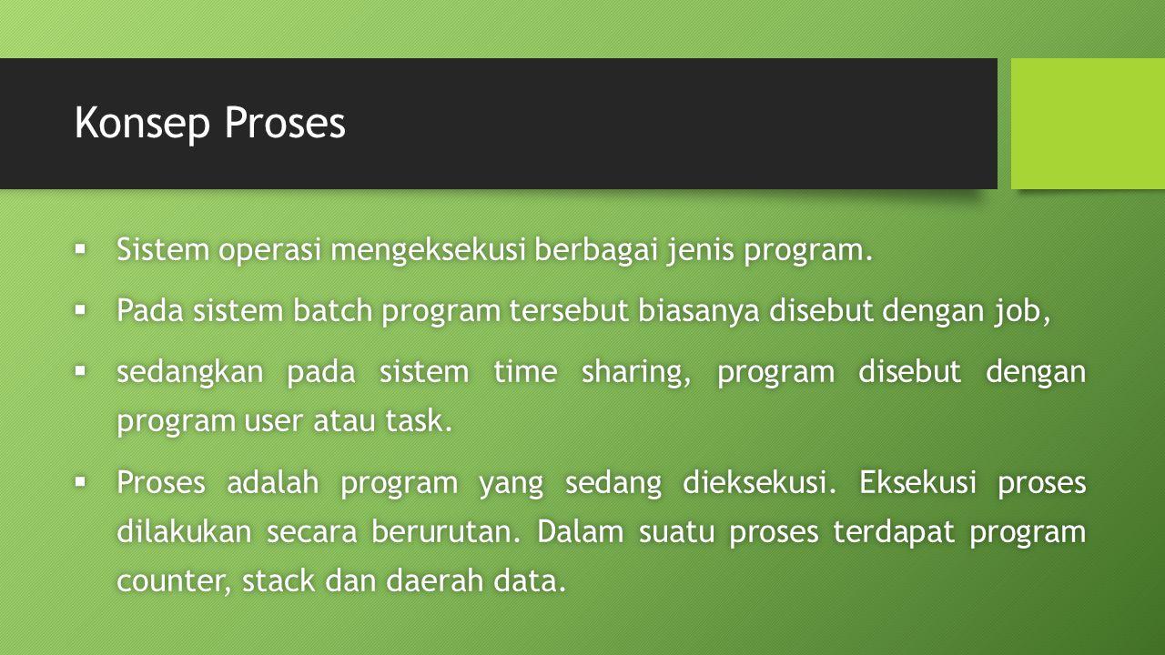 Konsep Proses  Sistem operasi mengeksekusi berbagai jenis program.  Pada sistem batch program tersebut biasanya disebut dengan job,  sedangkan pada
