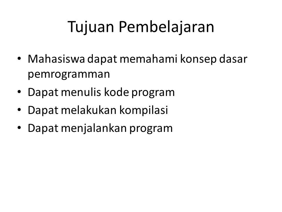Tujuan Pembelajaran Mahasiswa dapat memahami konsep dasar pemrogramman Dapat menulis kode program Dapat melakukan kompilasi Dapat menjalankan program