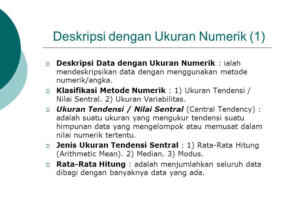 Deskripsi dengan Ukuran Numerik (1)  Deskripsi Data dengan Ukuran Numerik : ialah mendeskripsikan data dengan menggunakan metode numerik/angka.  Kla