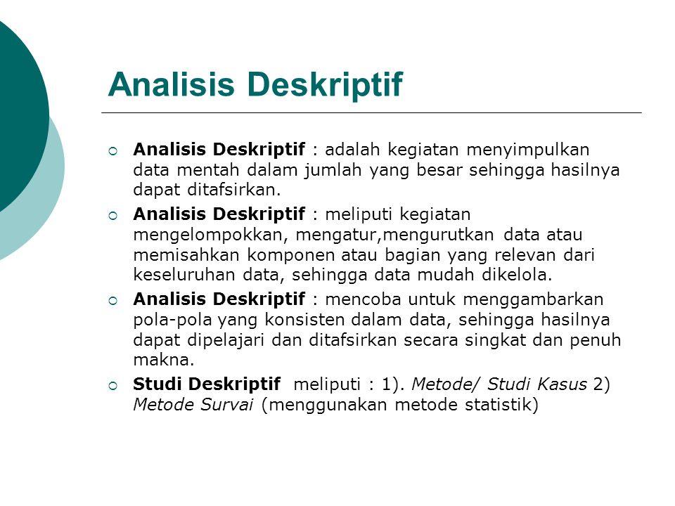 Analisis Deskriptif  Analisis Deskriptif : adalah kegiatan menyimpulkan data mentah dalam jumlah yang besar sehingga hasilnya dapat ditafsirkan.  An
