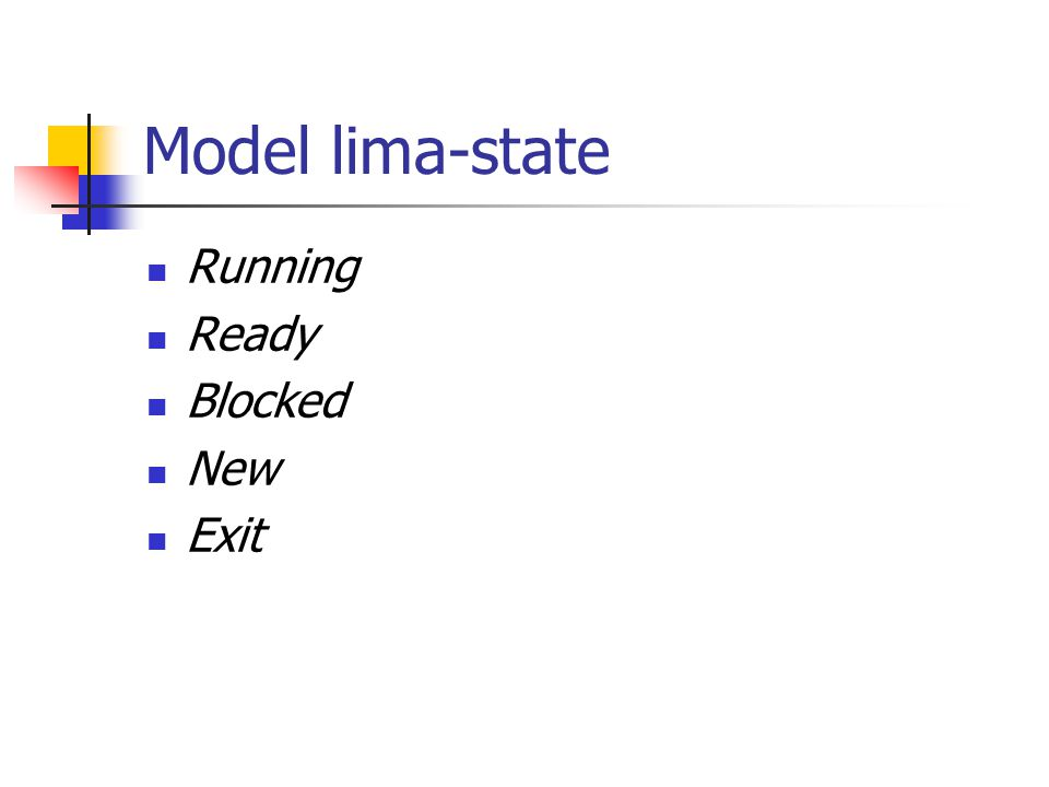 Model lima-state Running Ready Blocked New Exit