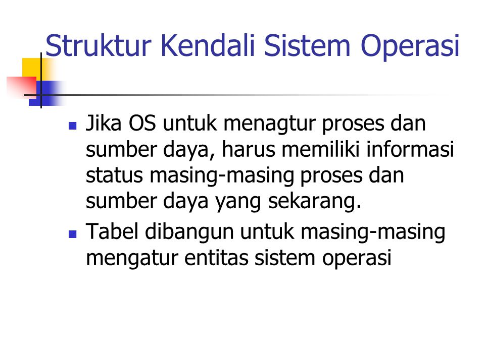 Struktur Kendali Sistem Operasi Jika OS untuk menagtur proses dan sumber daya, harus memiliki informasi status masing-masing proses dan sumber daya yang sekarang.