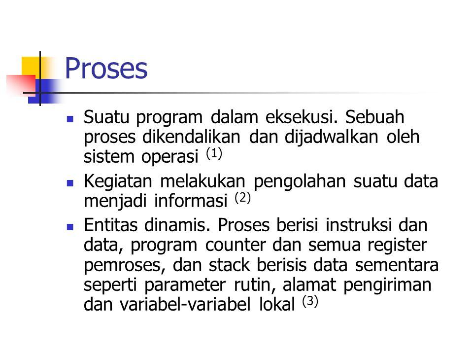 Proses Suatu program dalam eksekusi. Sebuah proses dikendalikan dan dijadwalkan oleh sistem operasi (1) Kegiatan melakukan pengolahan suatu data menja
