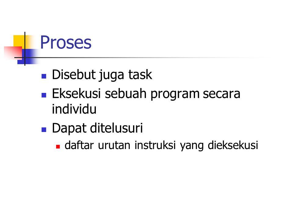 Proses Disebut juga task Eksekusi sebuah program secara individu Dapat ditelusuri daftar urutan instruksi yang dieksekusi