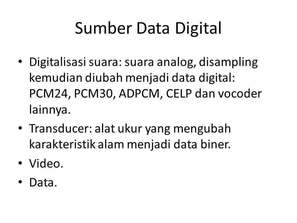 Sumber Data Digital Digitalisasi suara: suara analog, disampling kemudian diubah menjadi data digital: PCM24, PCM30, ADPCM, CELP dan vocoder lainnya.