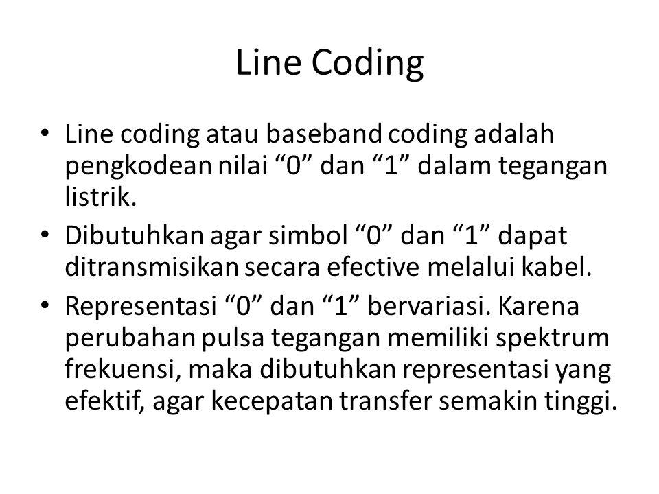 """Line Coding Line coding atau baseband coding adalah pengkodean nilai """"0"""" dan """"1"""" dalam tegangan listrik. Dibutuhkan agar simbol """"0"""" dan """"1"""" dapat ditr"""