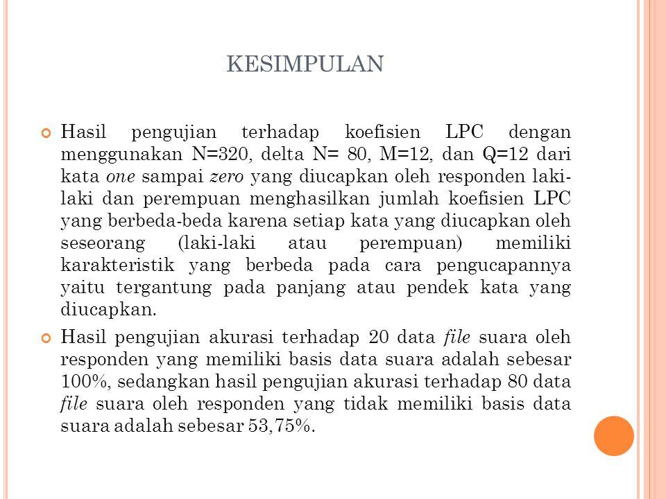 KESIMPULAN Hasil pengujian terhadap koefisien LPC dengan menggunakan N=320, delta N= 80, M=12, dan Q=12 dari kata one sampai zero yang diucapkan oleh