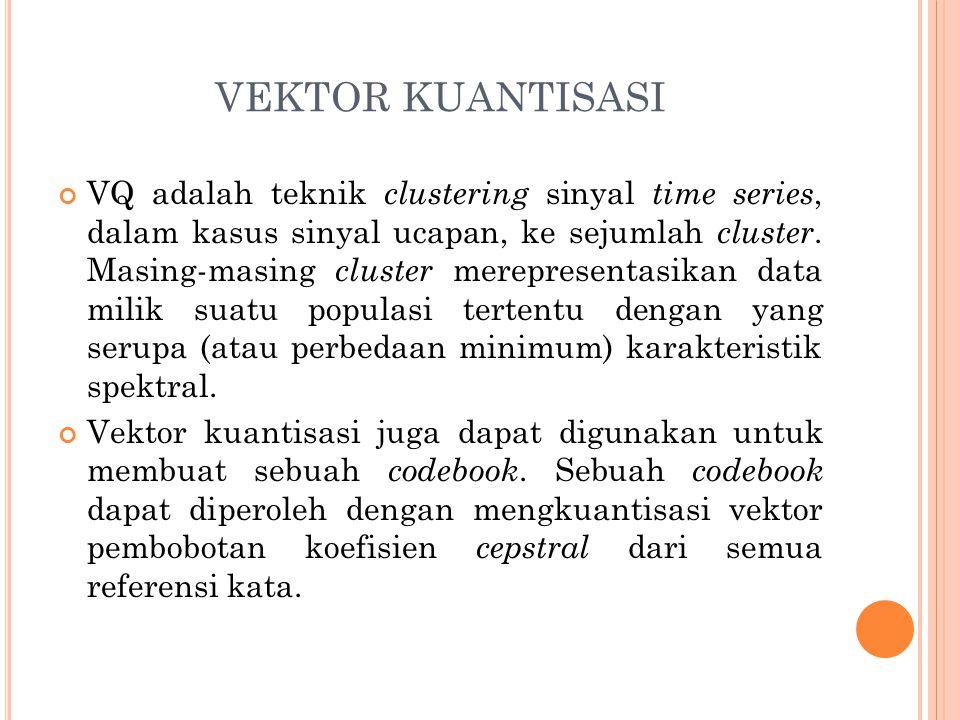 VEKTOR KUANTISASI VQ adalah teknik clustering sinyal time series, dalam kasus sinyal ucapan, ke sejumlah cluster. Masing-masing cluster merepresentasi