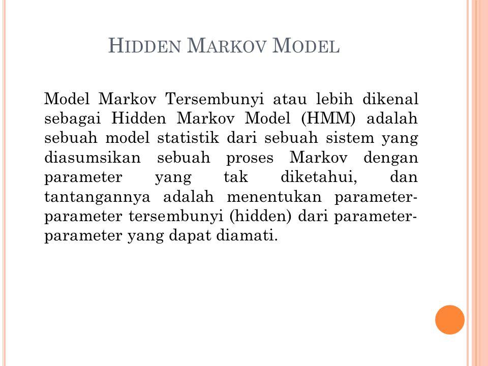 H IDDEN M ARKOV M ODEL Model Markov Tersembunyi atau lebih dikenal sebagai Hidden Markov Model (HMM) adalah sebuah model statistik dari sebuah sistem
