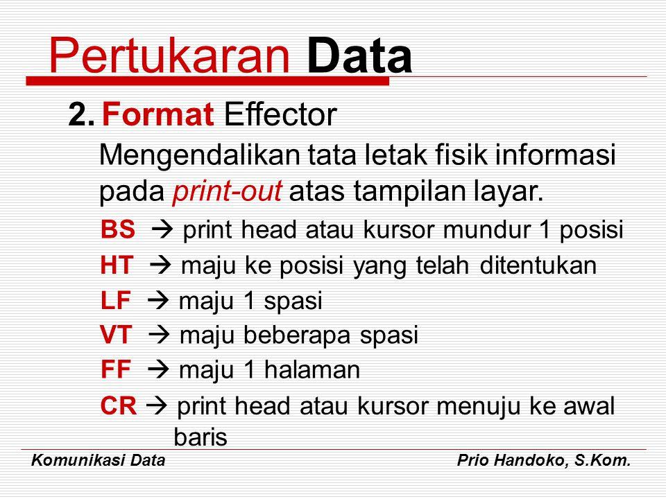 Komunikasi Data Prio Handoko, S.Kom. Pertukaran Data 2.Format Effector Mengendalikan tata letak fisik informasi pada print-out atas tampilan layar. BS