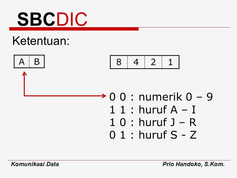 Komunikasi Data Prio Handoko, S.Kom. SBCDIC Ketentuan: AB 8421 0 0 : numerik 0 – 9 1 1 : huruf A – I 1 0 : huruf J – R 0 1 : huruf S - Z