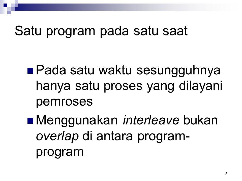 7 Satu program pada satu saat Pada satu waktu sesungguhnya hanya satu proses yang dilayani pemroses Menggunakan interleave bukan overlap di antara pro
