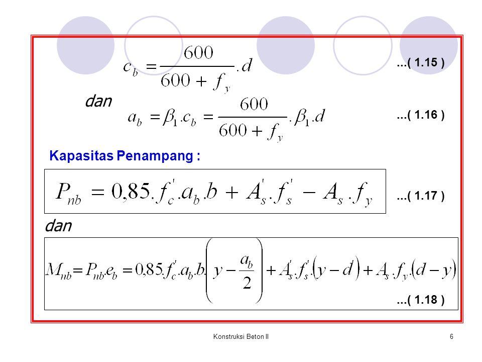 Konstruksi Beton II17 Persamaan Whitney didasarkan atas asumsi-asumsi sebagai berikut : 1.