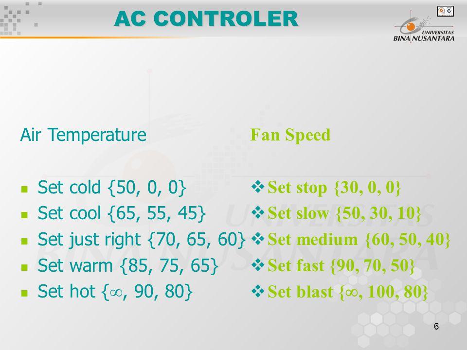 6 AC CONTROLER Fan Speed  Set stop {30, 0, 0}  Set slow {50, 30, 10}  Set medium {60, 50, 40}  Set fast {90, 70, 50}  Set blast { , 100, 80} Air Temperature Set cold {50, 0, 0} Set cool {65, 55, 45} Set just right {70, 65, 60} Set warm {85, 75, 65} Set hot { , 90, 80}