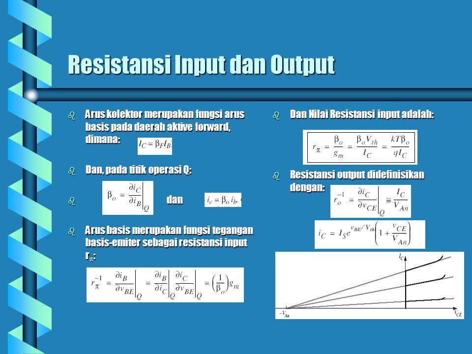 Resistansi Input dan Output b Arus kolektor merupakan fungsi arus basis pada daerah aktive forward, dimana: b Dan, pada titik operasi Q: b dan b Arus basis merupakan fungsi tegangan basis-emiter sebagai resistansi input r  : b Dan Nilai Resistansi input adalah: b Resistansi output didefinisikan dengan: