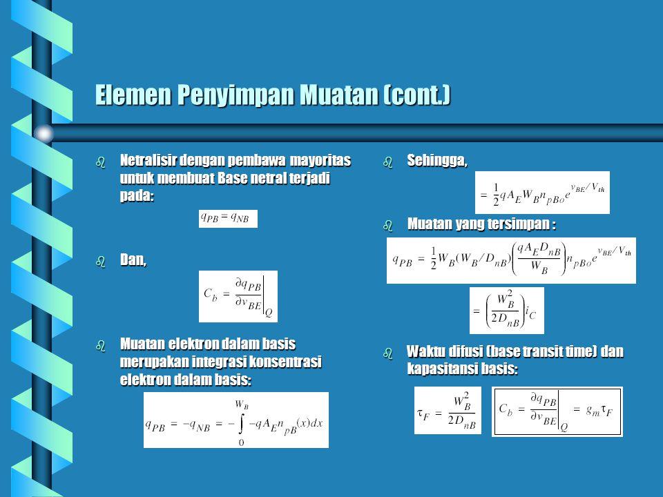 Elemen Penyimpan Muatan (cont.) b Netralisir dengan pembawa mayoritas untuk membuat Base netral terjadi pada: b Dan, b Muatan elektron dalam basis merupakan integrasi konsentrasi elektron dalam basis: b Sehingga, b Muatan yang tersimpan : b Waktu difusi (base transit time) dan kapasitansi basis:
