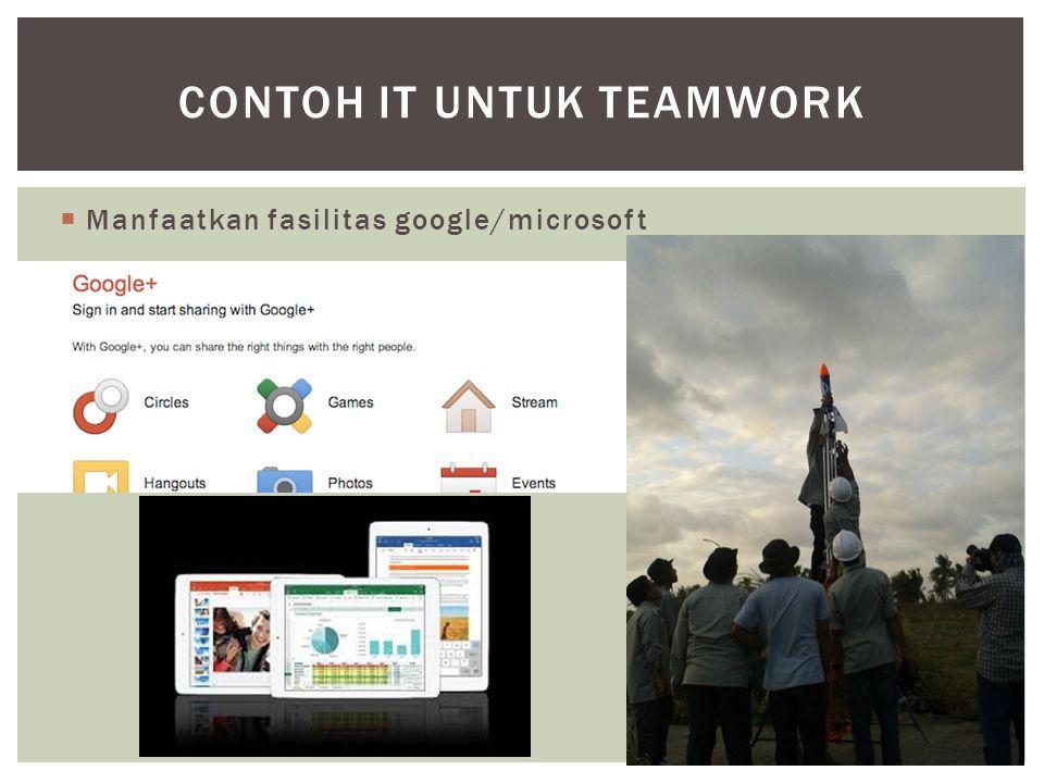  Manfaatkan fasilitas google/microsoft CONTOH IT UNTUK TEAMWORK