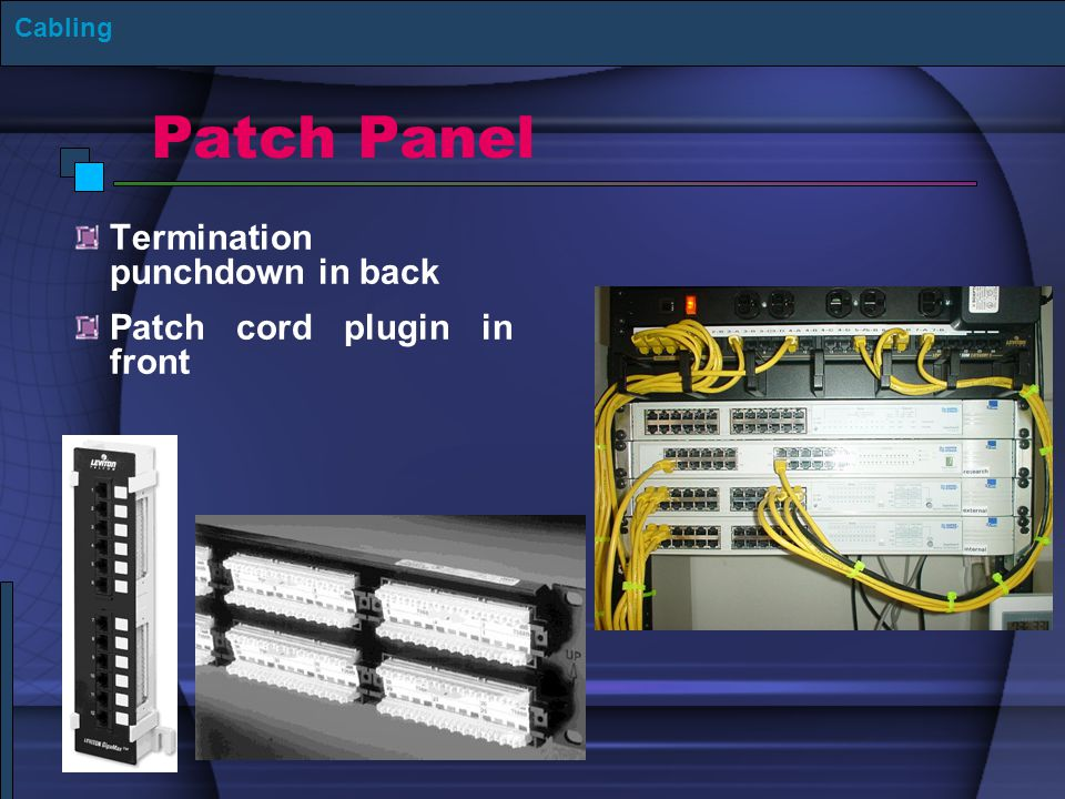 Patch Panel Termination punchdown in back Patch cord plugin in front Cabling