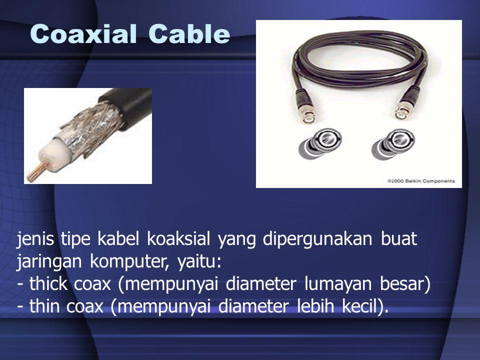 Coaxial Dipakai pada teknologi Bus Sudah tidak dipakai lagi Ada dua tipe coaxial : –Thinnet  Max 185 M 10Base2 –Thicknet  Max 500 M 10Base5 Perlu repeater untuk jarak melebihi batas max kabel Thicknet Thinnet
