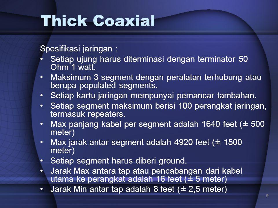 9 Thick Coaxial Spesifikasi jaringan : Setiap ujung harus diterminasi dengan terminator 50 Ohm 1 watt. Maksimum 3 segment dengan peralatan terhubung a