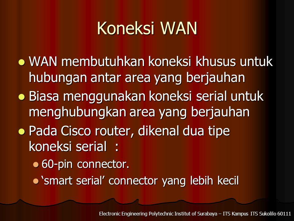 Koneksi WAN WAN membutuhkan koneksi khusus untuk hubungan antar area yang berjauhan WAN membutuhkan koneksi khusus untuk hubungan antar area yang berjauhan Biasa menggunakan koneksi serial untuk menghubungkan area yang berjauhan Biasa menggunakan koneksi serial untuk menghubungkan area yang berjauhan Pada Cisco router, dikenal dua tipe koneksi serial : Pada Cisco router, dikenal dua tipe koneksi serial : 60-pin connector.