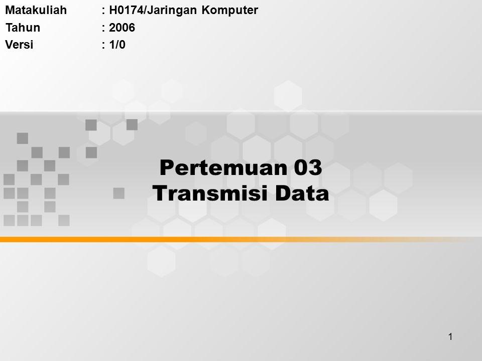 1 Pertemuan 03 Transmisi Data Matakuliah: H0174/Jaringan Komputer Tahun: 2006 Versi: 1/0