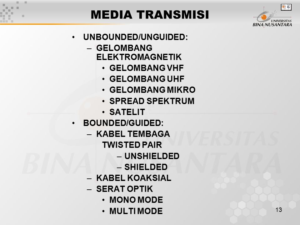 13 MEDIA TRANSMISI UNBOUNDED/UNGUIDED: –GELOMBANG ELEKTROMAGNETIK GELOMBANG VHF GELOMBANG UHF GELOMBANG MIKRO SPREAD SPEKTRUM SATELIT BOUNDED/GUIDED: