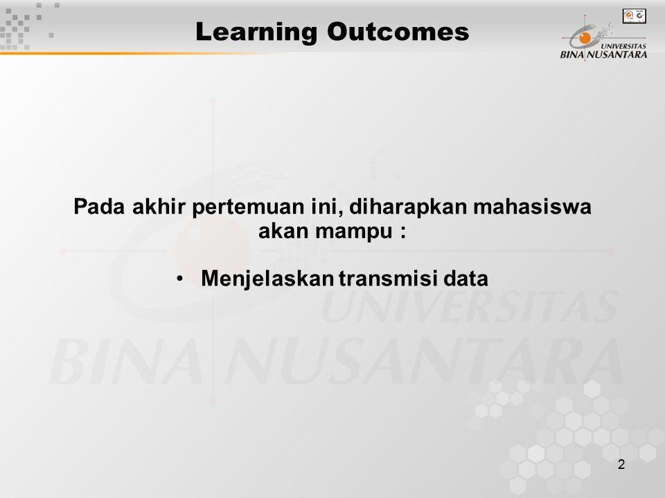 2 Learning Outcomes Pada akhir pertemuan ini, diharapkan mahasiswa akan mampu : Menjelaskan transmisi data
