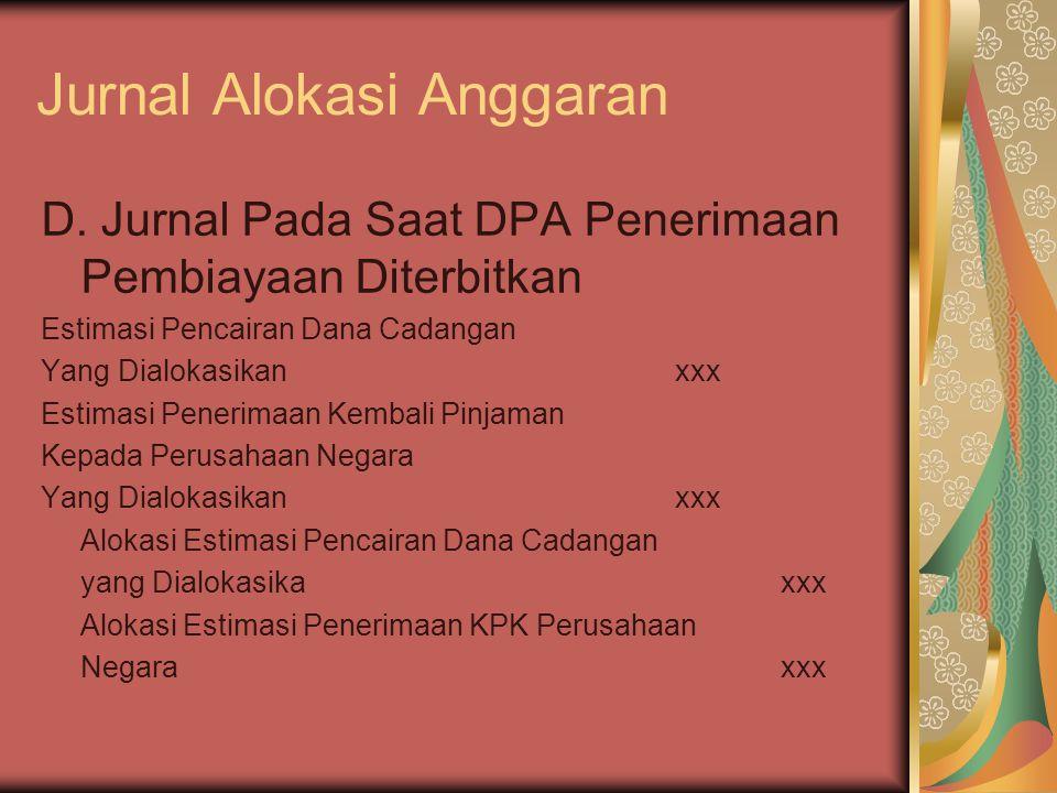 Jurnal Alokasi Anggaran D. Jurnal Pada Saat DPA Penerimaan Pembiayaan Diterbitkan Estimasi Pencairan Dana Cadangan Yang Dialokasikanxxx Estimasi Pener