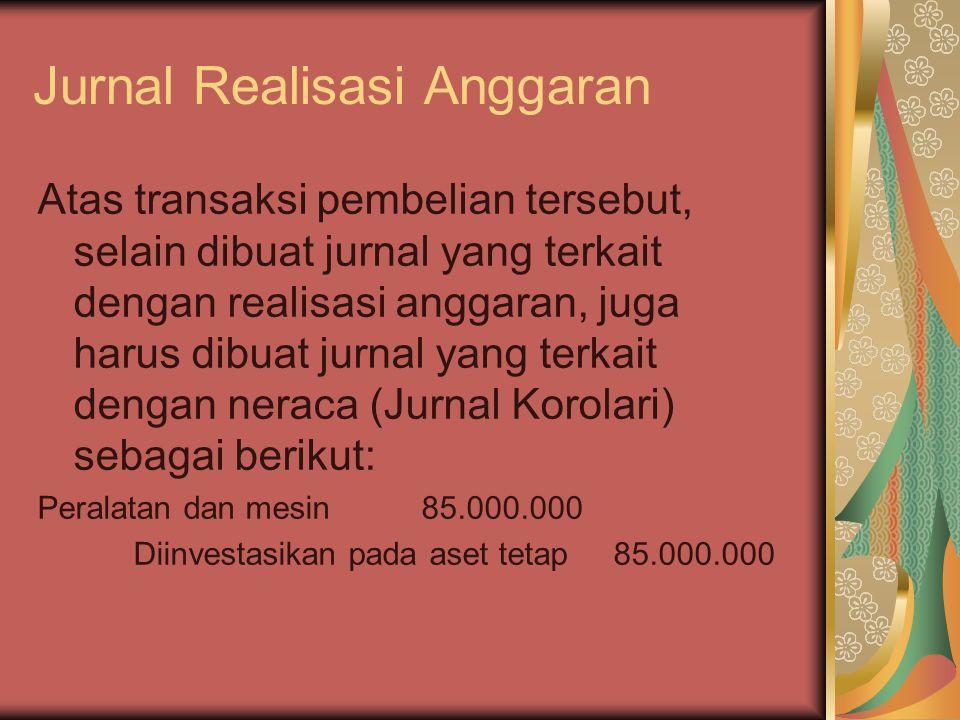 Jurnal Realisasi Anggaran Atas transaksi pembelian tersebut, selain dibuat jurnal yang terkait dengan realisasi anggaran, juga harus dibuat jurnal yan
