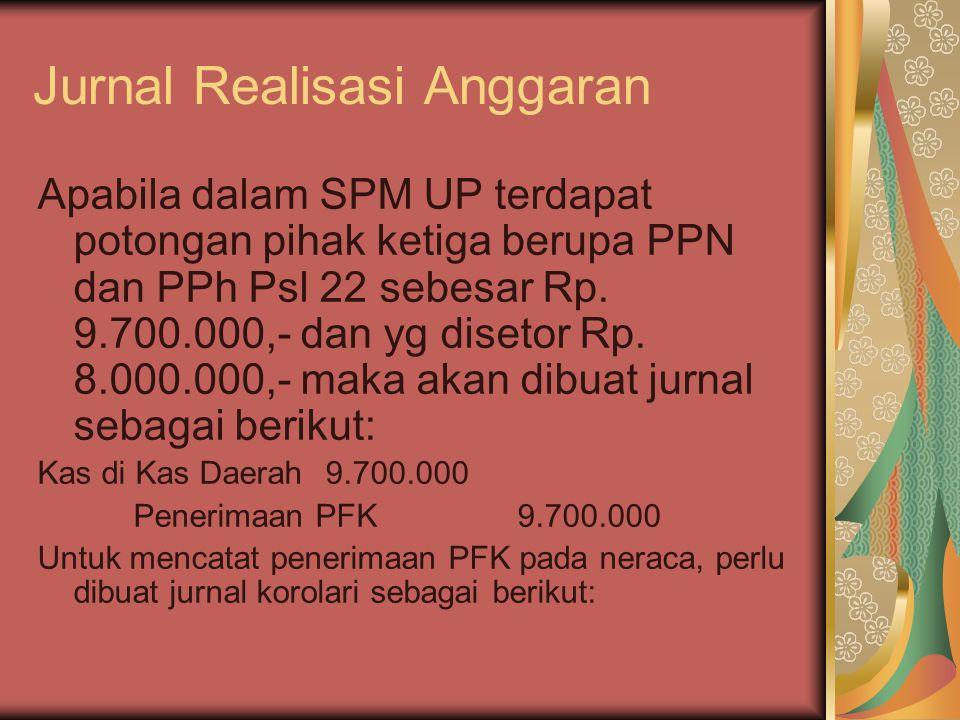 Jurnal Realisasi Anggaran Apabila dalam SPM UP terdapat potongan pihak ketiga berupa PPN dan PPh Psl 22 sebesar Rp. 9.700.000,- dan yg disetor Rp. 8.0