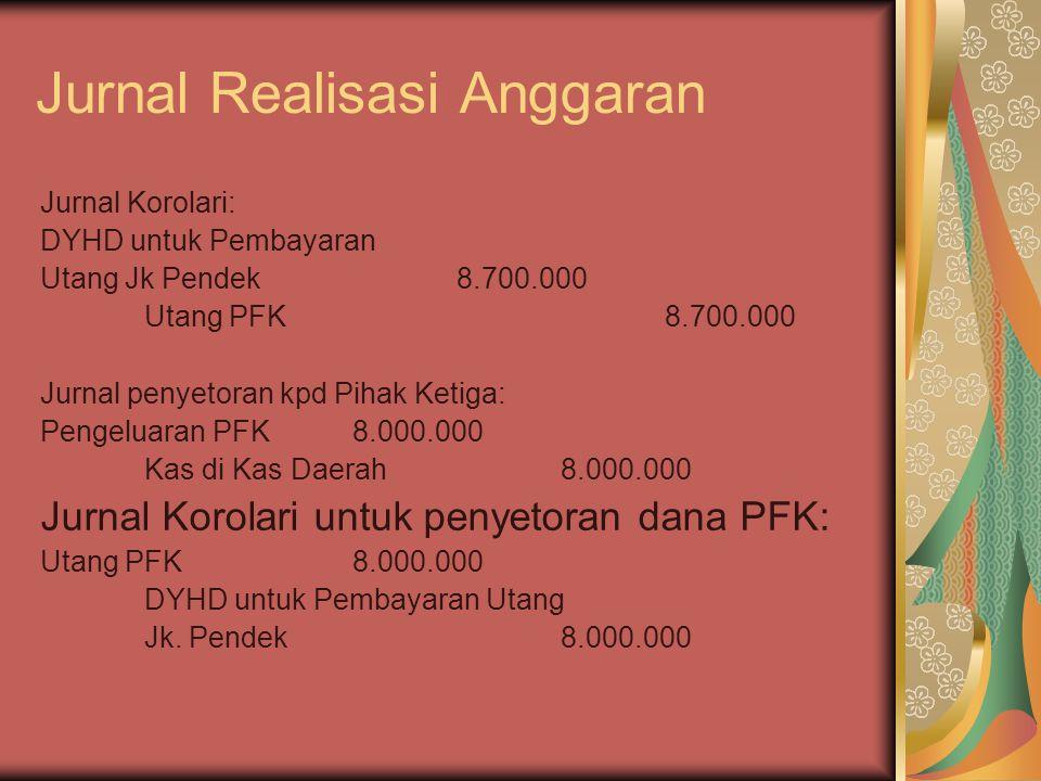 Jurnal Realisasi Anggaran Jurnal Korolari: DYHD untuk Pembayaran Utang Jk Pendek8.700.000 Utang PFK8.700.000 Jurnal penyetoran kpd Pihak Ketiga: Penge