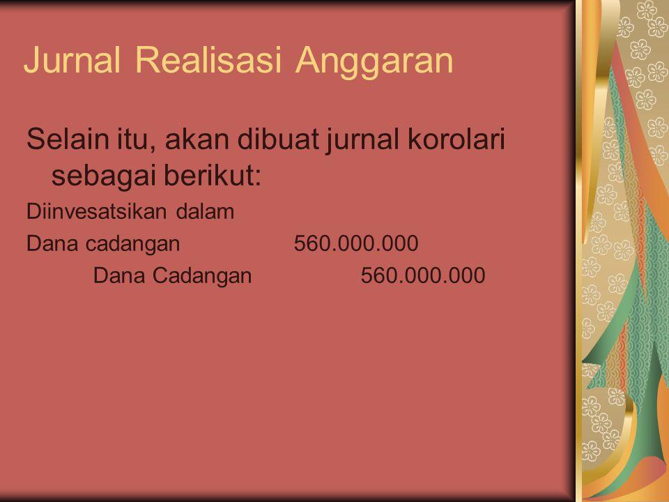 Jurnal Realisasi Anggaran Selain itu, akan dibuat jurnal korolari sebagai berikut: Diinvesatsikan dalam Dana cadangan560.000.000 Dana Cadangan560.000.
