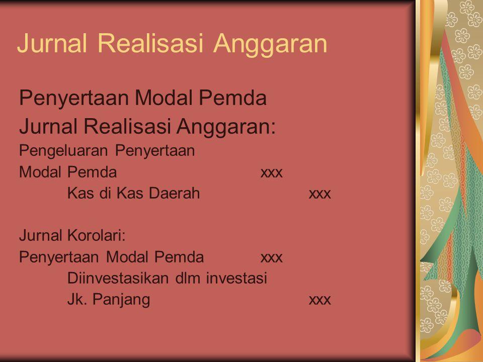 Jurnal Realisasi Anggaran Penyertaan Modal Pemda Jurnal Realisasi Anggaran: Pengeluaran Penyertaan Modal Pemdaxxx Kas di Kas Daerahxxx Jurnal Korolari