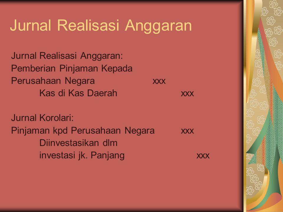 Jurnal Realisasi Anggaran Jurnal Realisasi Anggaran: Pemberian Pinjaman Kepada Perusahaan Negaraxxx Kas di Kas Daerahxxx Jurnal Korolari: Pinjaman kpd