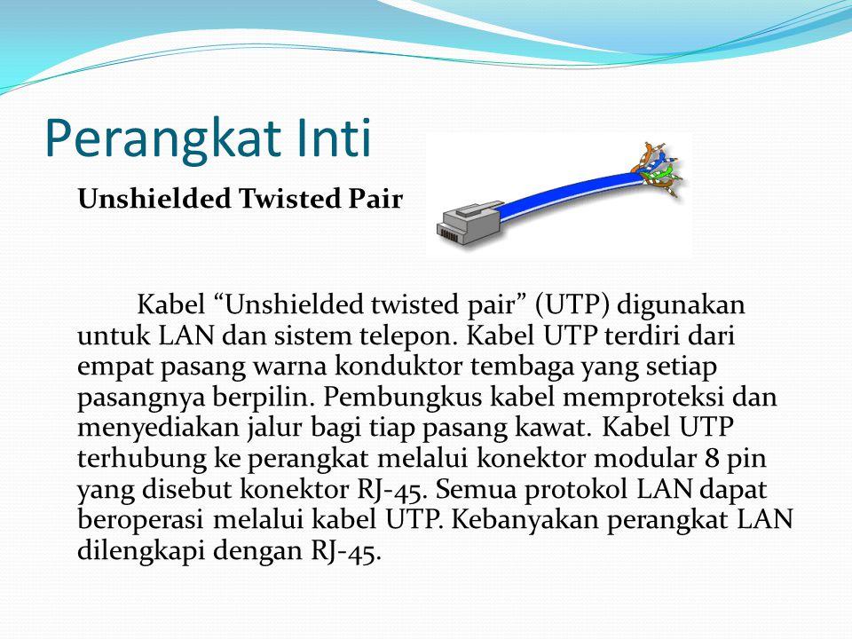 """Perangkat Inti Unshielded Twisted Pair Kabel """"Unshielded twisted pair"""" (UTP) digunakan untuk LAN dan sistem telepon. Kabel UTP terdiri dari empat pasa"""