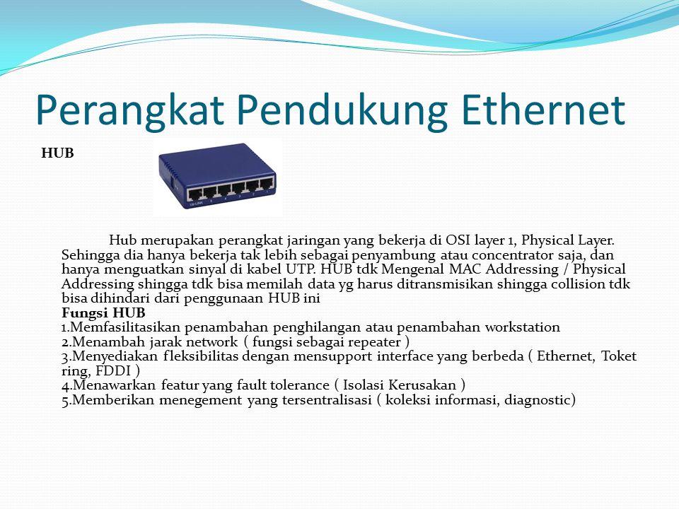 Perangkat Pendukung Ethernet HUB Hub merupakan perangkat jaringan yang bekerja di OSI layer 1, Physical Layer. Sehingga dia hanya bekerja tak lebih se
