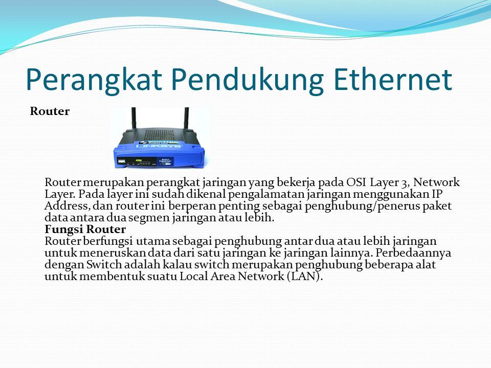 Perangkat Pendukung Ethernet Router Router merupakan perangkat jaringan yang bekerja pada OSI Layer 3, Network Layer. Pada layer ini sudah dikenal pen
