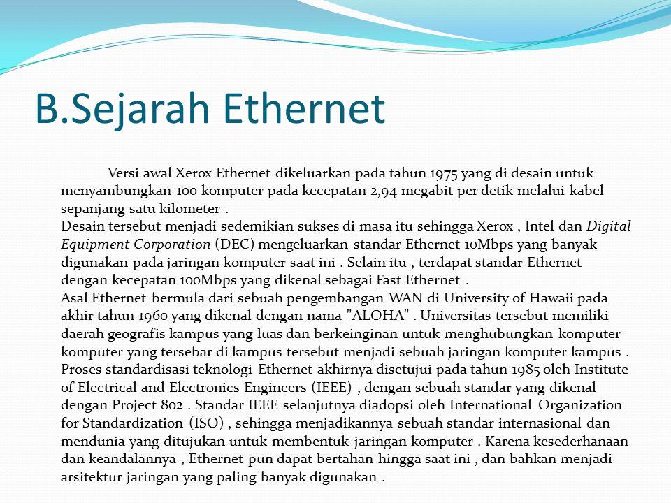 C.Jenis-Jenis Ethernet menurut Kecepatannya:  10 Mbit/detik, diistilahkan Ethernet saja (standar yang digunakan adalah: 10Base2, 10Base5, 10BaseT, 10BaseF ), spesifikasi IEEE 802.3  100 Mbit/detik, atau disebut dengan Fast Ethernet (standar yang digunakan adalah:100BaseFX, 100BaseT, 100BaseT4, 100BaseTX ), spesifikasi IEEE 802.3u  1000 Mbit/detik atau 1 Gbit/detik, disebut dengan Gigabit Ethernet (standar yang digunakan adalah: 1000BaseCX, 1000BaseLX, 1000BaseSX,1000BaseT ), spesifikasi IEEE 802.3z  10000 Mbit/detik atau 10 Gbit/detik.