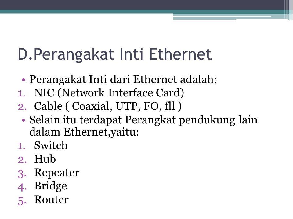 D.Perangakat Inti Ethernet Perangakat Inti dari Ethernet adalah: 1.NIC (Network Interface Card) 2.Cable ( Coaxial, UTP, FO, fll ) Selain itu terdapat Perangkat pendukung lain dalam Ethernet,yaitu: 1.Switch 2.Hub 3.Repeater 4.Bridge 5.Router