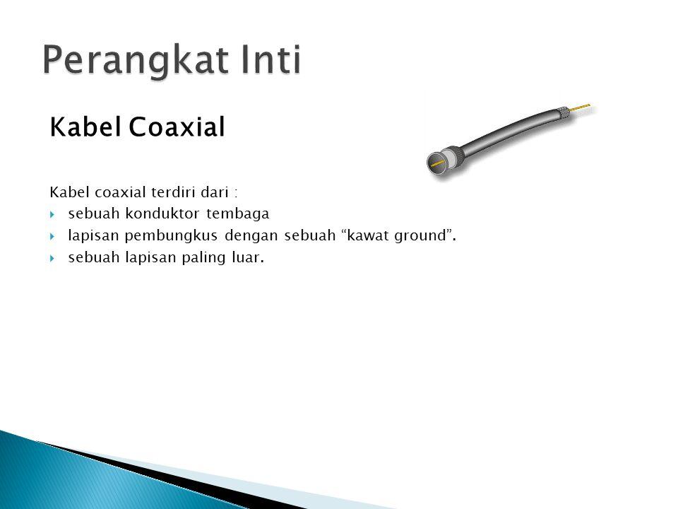 """Kabel Coaxial Kabel coaxial terdiri dari :  sebuah konduktor tembaga  lapisan pembungkus dengan sebuah """"kawat ground"""".  sebuah lapisan paling luar."""