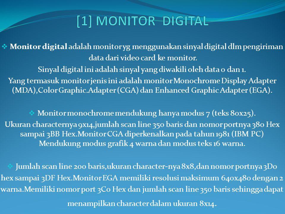  Monitor digital adalah monitor yg menggunakan sinyal digital dlm pengiriman data dari video card ke monitor. Sinyal digital ini adalah sinyal yang d